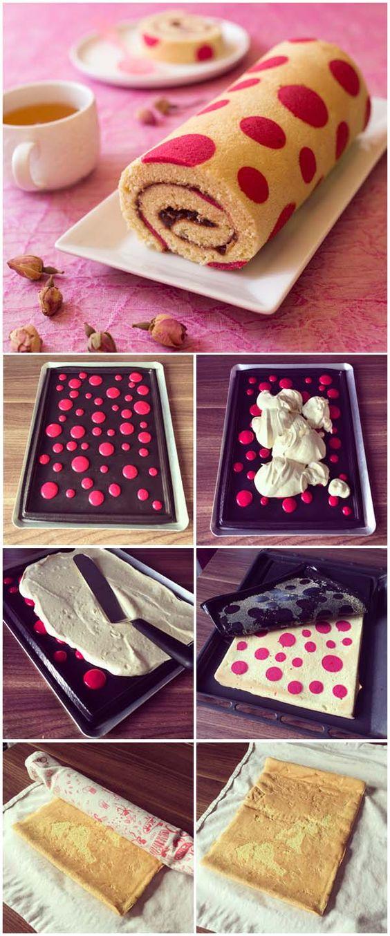 Recette Gâteau roulé imprimé très girly à la confiture de fraise