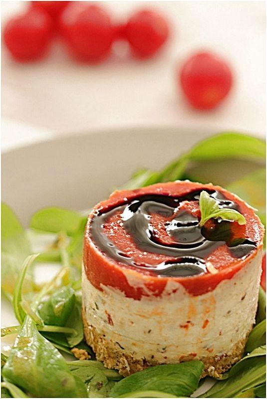 entrée aubergines tomate, chèvre frais, basilic