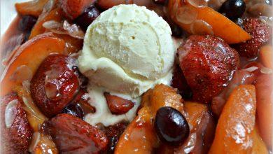 Fruits d'été à la plancha et glace vanille