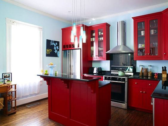 cuisines en rouge