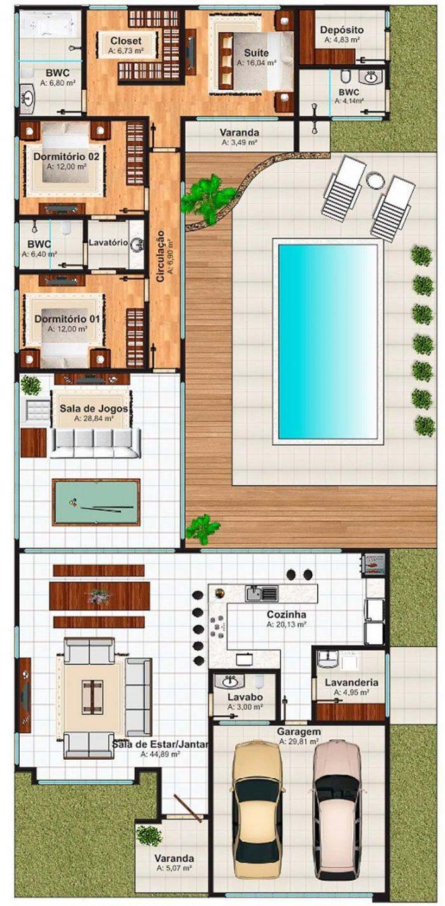 Idees De Design Moderne Incroyables De Plans De Maison Avec 3 Chambres