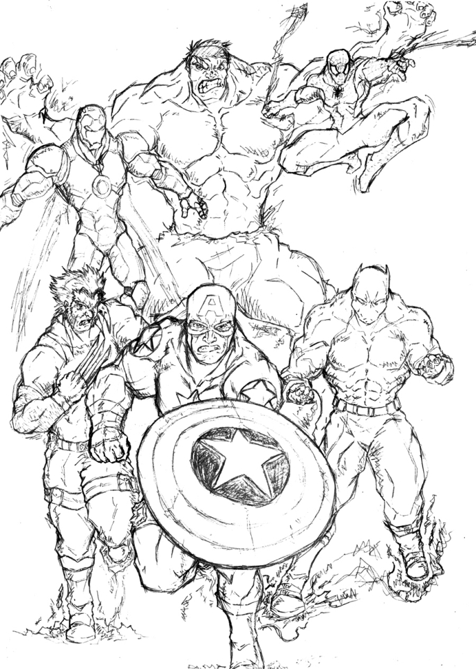 Coloriage Avengers Sketch