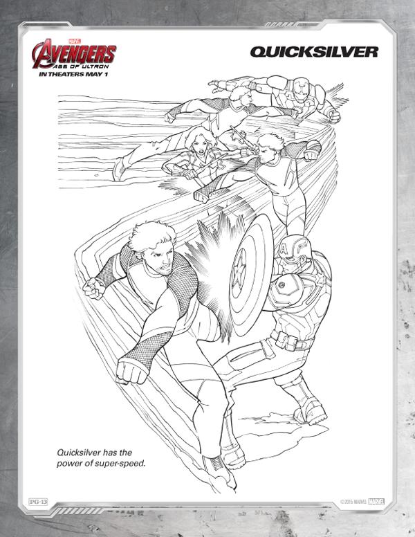 Coloriage Avengers - Quicksilver gratuit