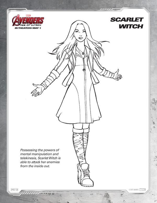 Coloriage Avengers - sorcière écarlate gratuit