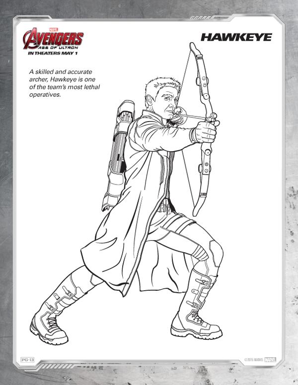 Coloriage Avengers - Hawkeye gratuit