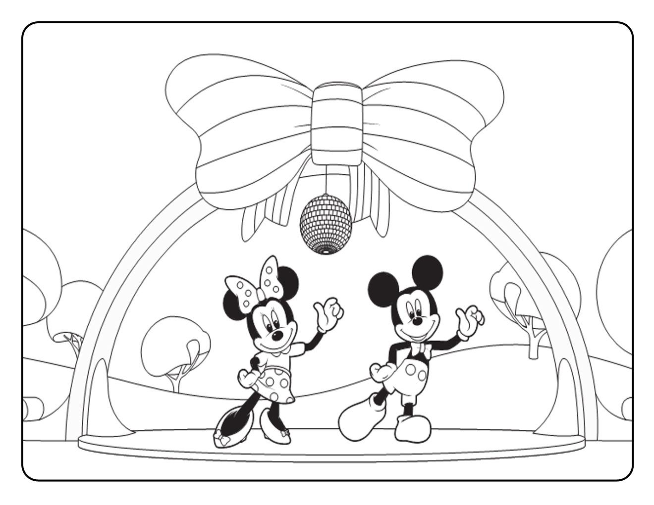 Coloriage Mickey et Mini Mouse Clubhouse dansant
