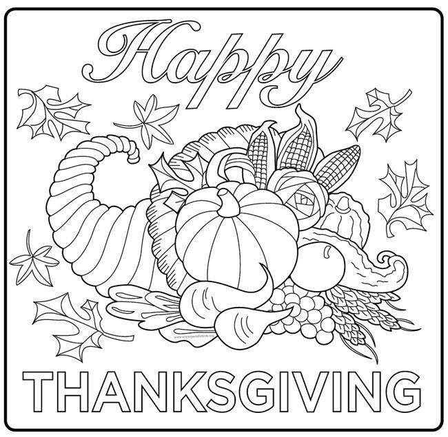 Coloriage de la corne d'abondance de Thanksgiving