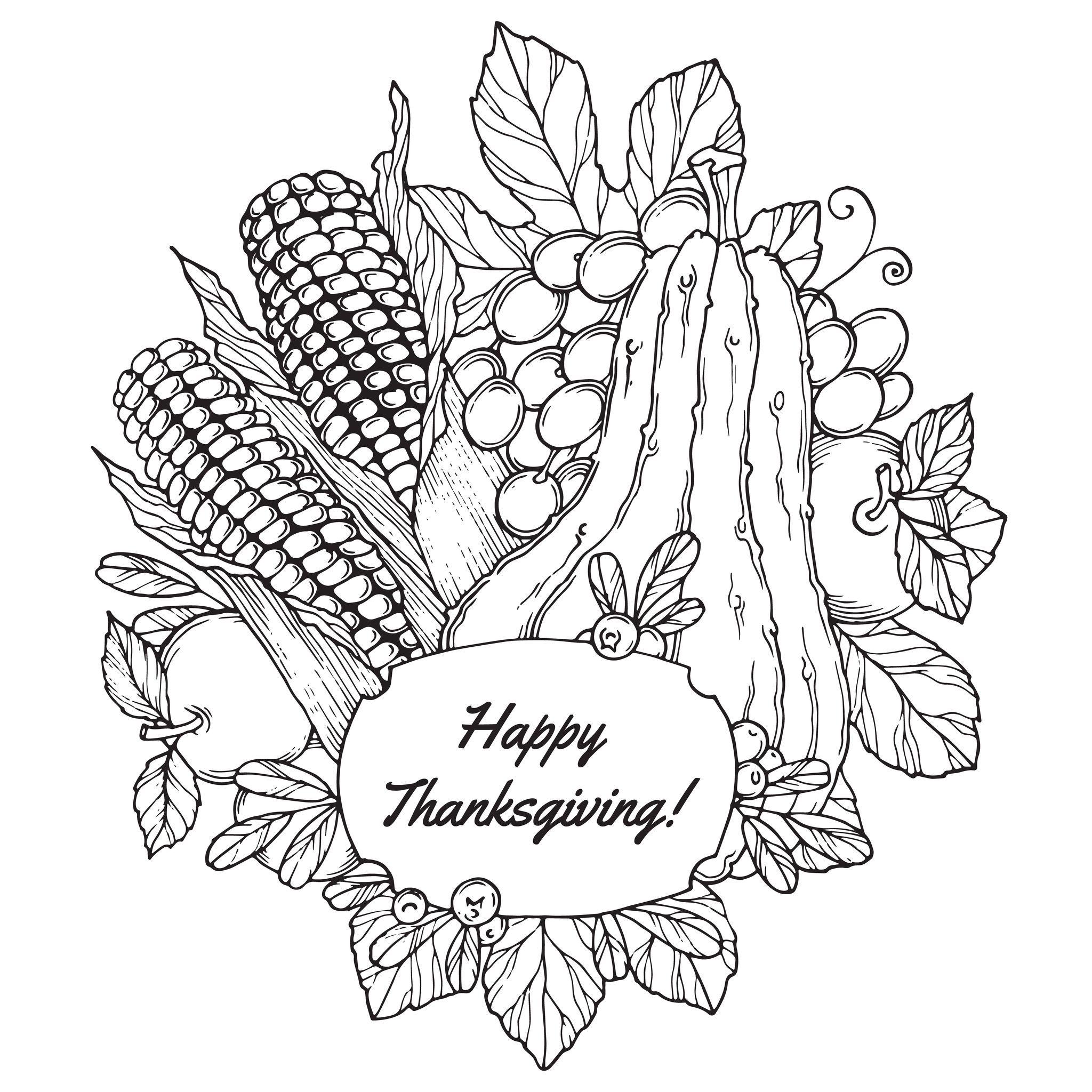 Coloriage de joyeux Thanksgiving