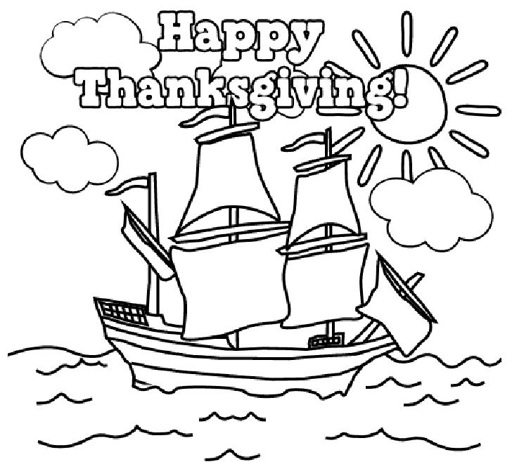 Joyeux Thanksgiving Mayflower Coloriage