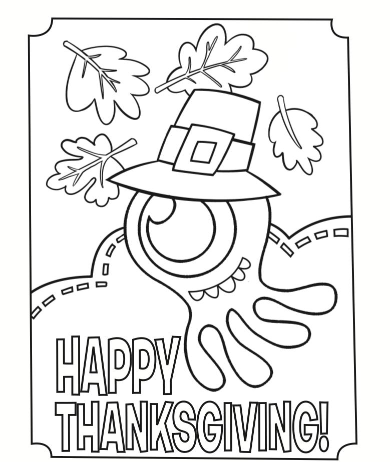 Coloriage monstre joyeux Thanksgiving