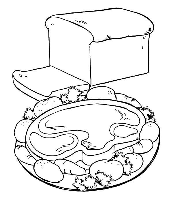 Page de coloriage de jambon de Thanksgiving
