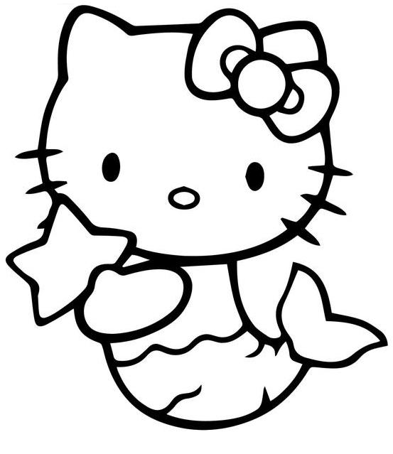 Coloriage Hello Kitty Sirène gratuit à imprimer et colorier