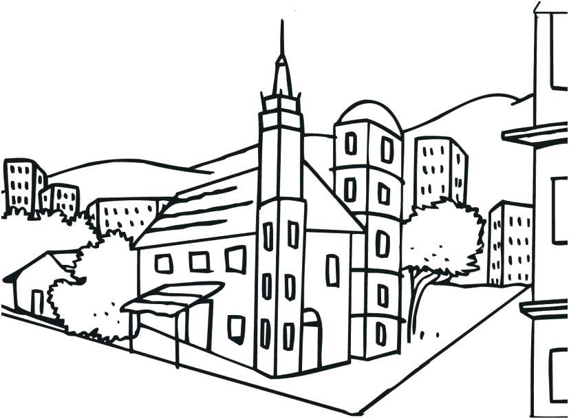 Coloriage de l'église de la ville