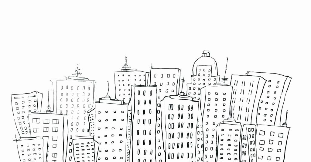 Cool City Drawing Coloring Page