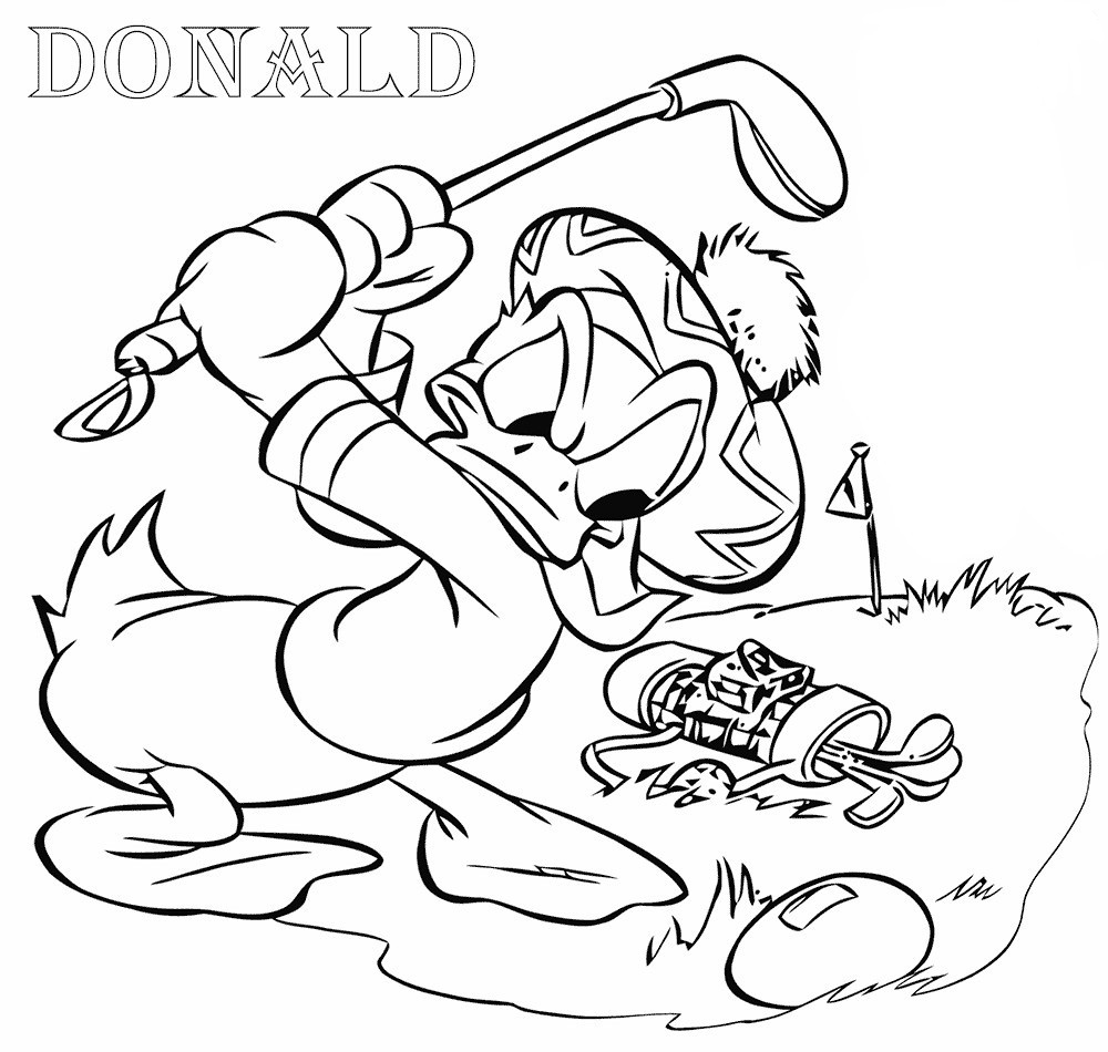 Coloriage Donald Duck Golf