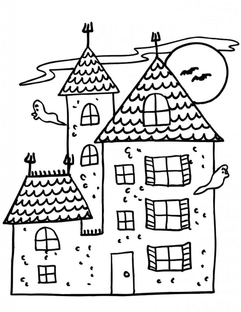 Coloriage maison hantée pour les enfants