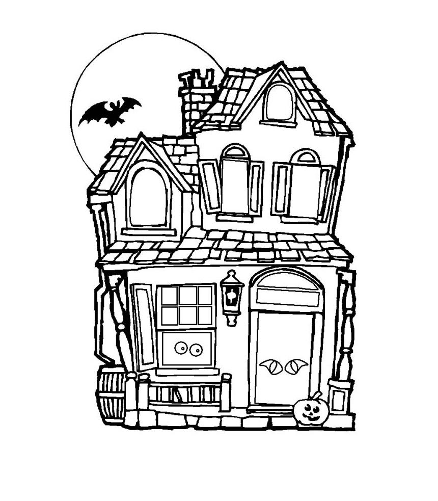 Coloriage maison hantée