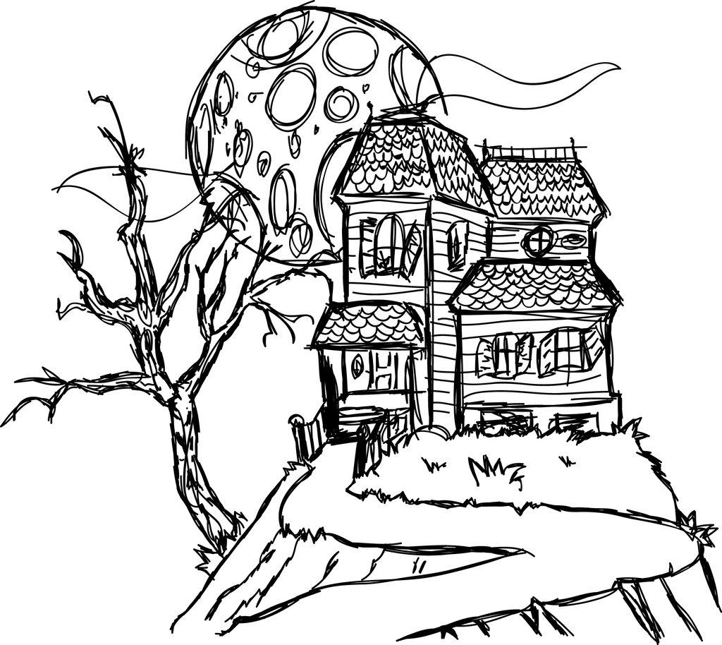 Coloriage maison hantée gratuit à imprimer pour les enfants