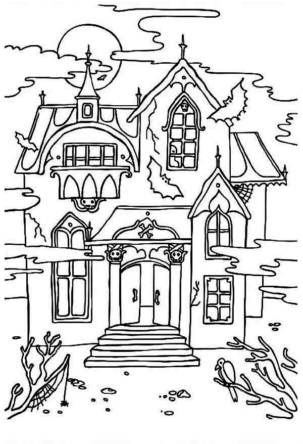 Feuilles de coloriage maison hantée