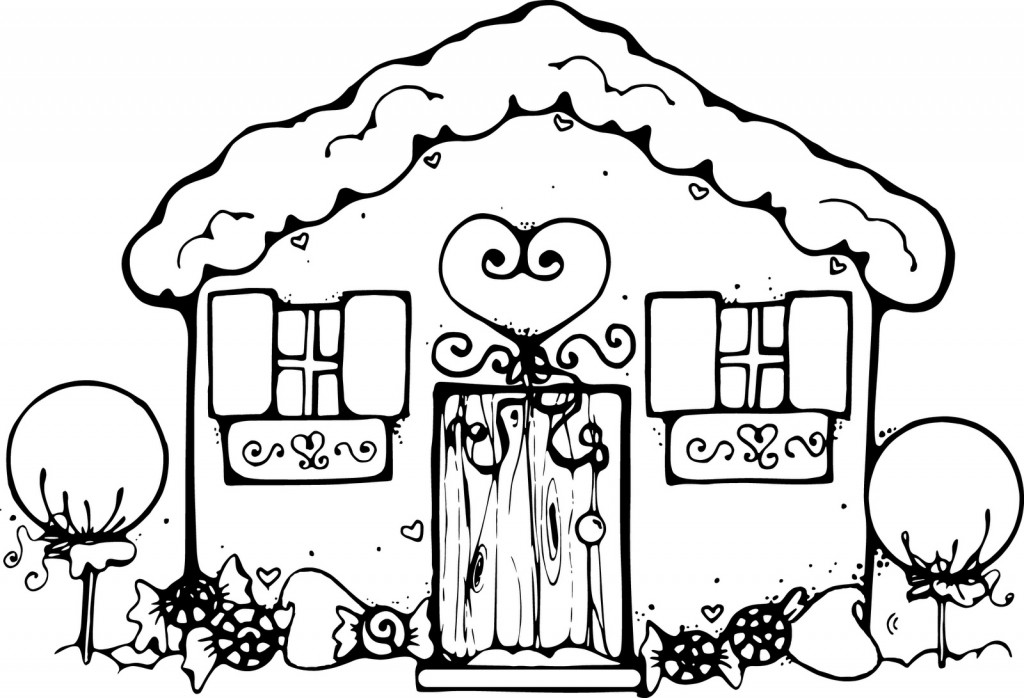 Coloriage maison en pain d'épice