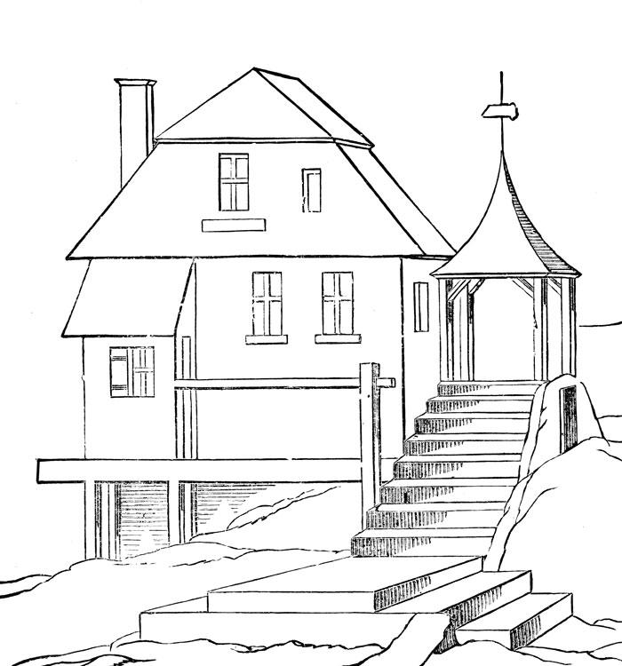 Coloriage de maison à imprimer