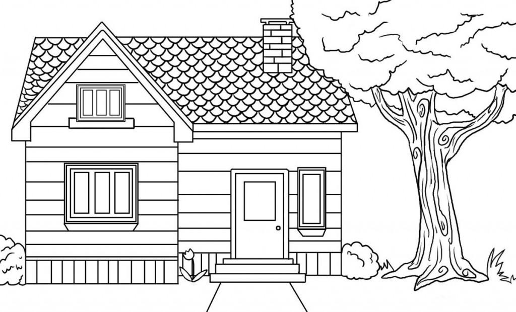 Coloriage de la petite maison dans la prairie