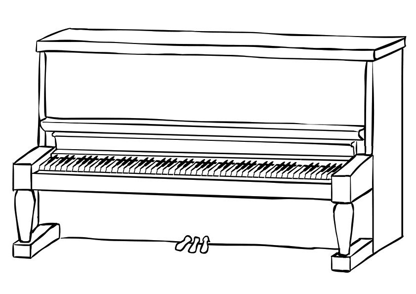 Easy Piano Coloring Pages