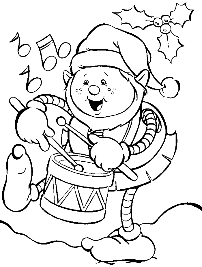 Coloriage elfe sur tambour