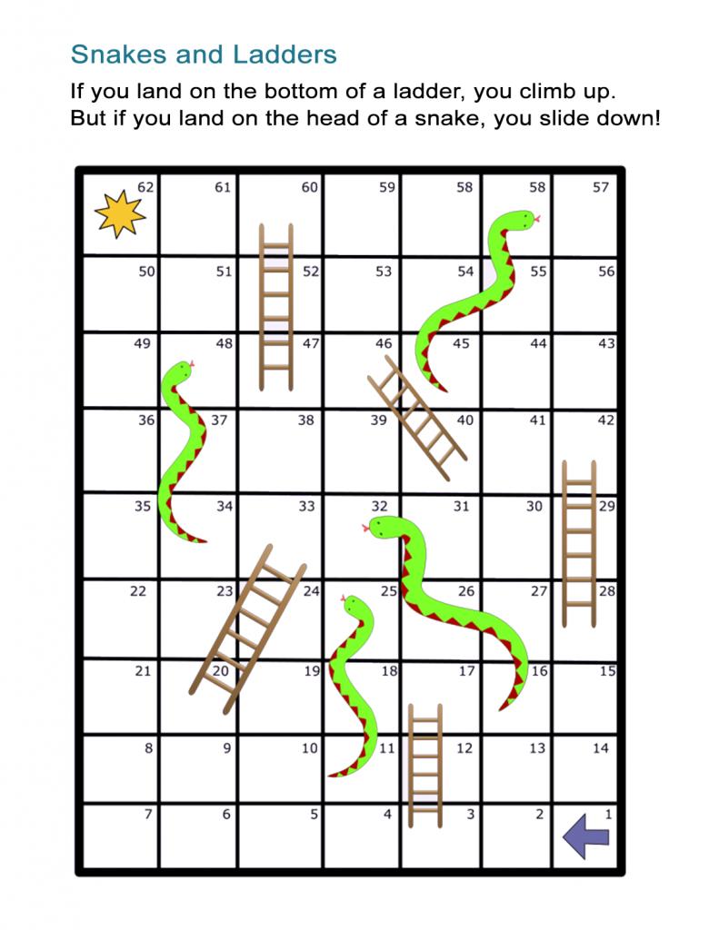 Jeu de société simple imprimable serpents et échelles