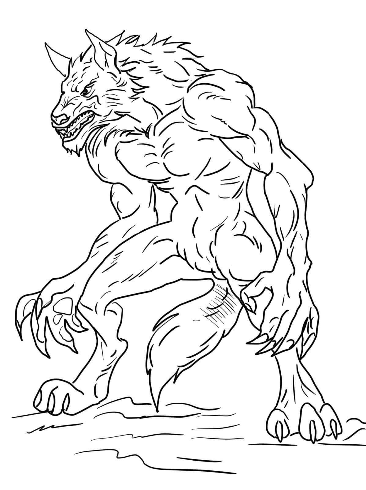 Coloriage Loup-garou à imprimer