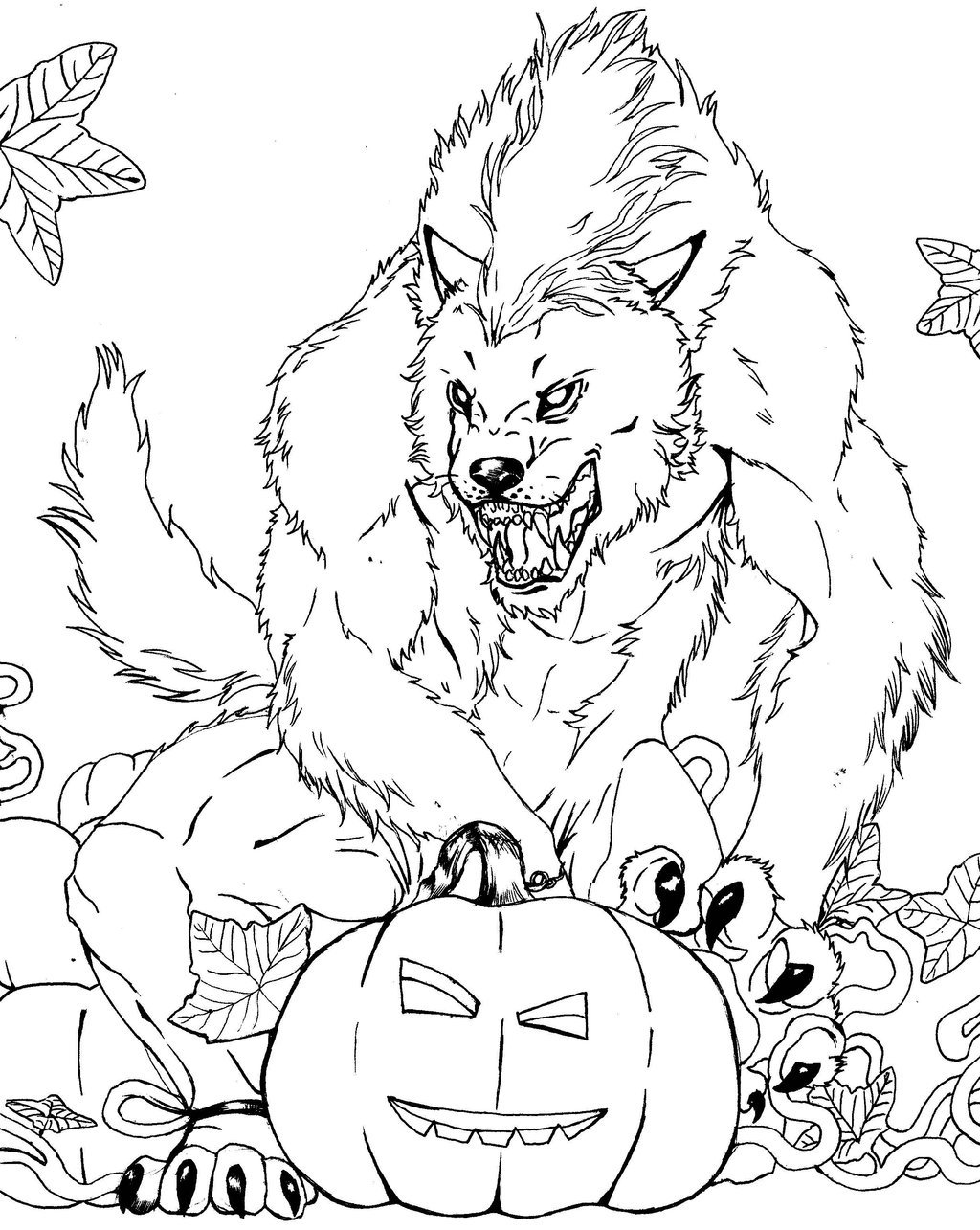 Coloriage de loup-garou effrayant