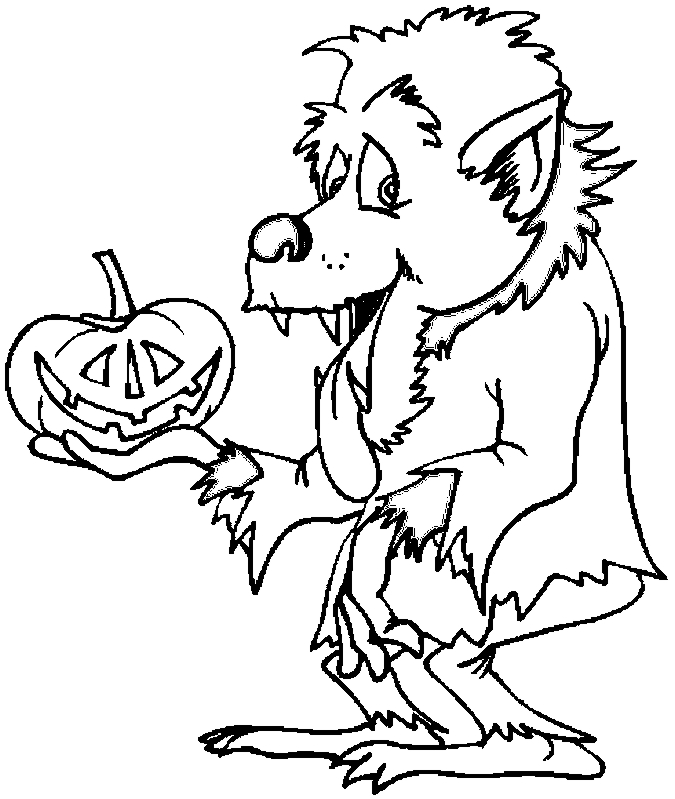 Coloriage Halloween loup-garou
