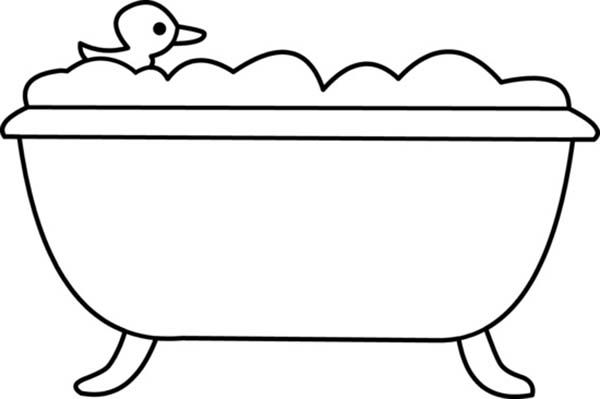 Coloriage canard en caoutchouc dans la baignoire
