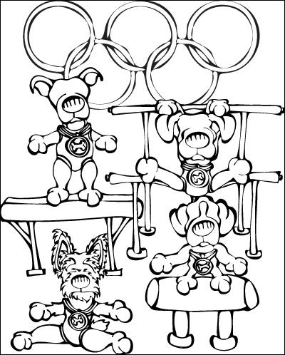 Coloriage de chien aux Jeux Olympiques de Gymnastique
