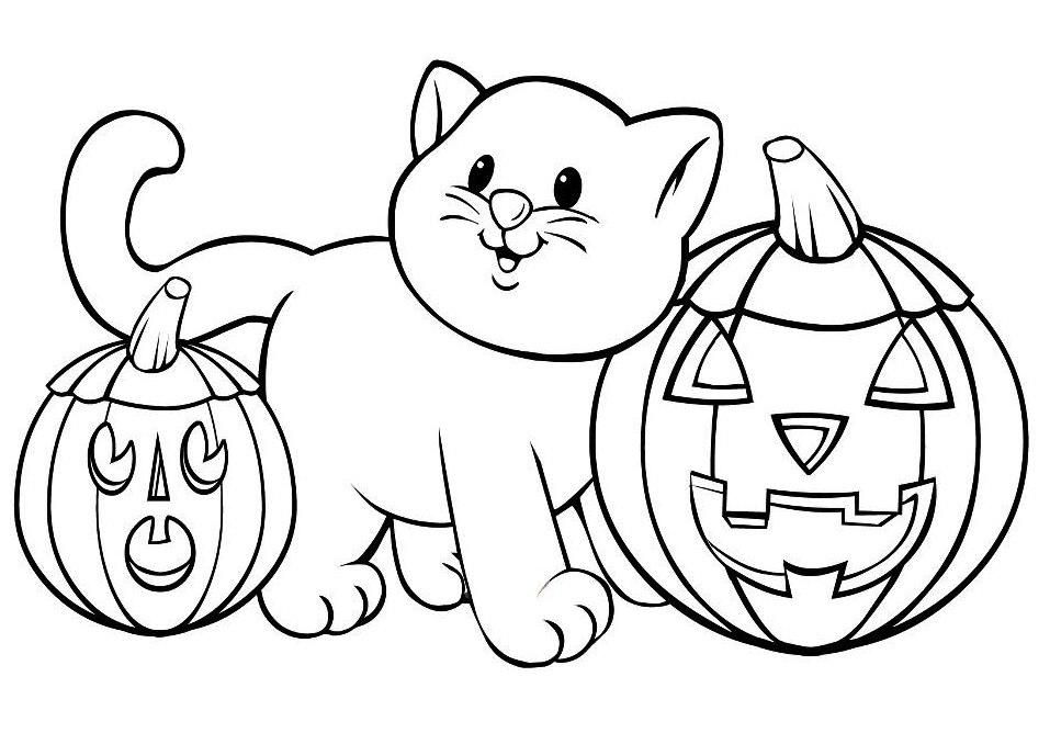 Coloriage chat et citrouilles d'Halloween