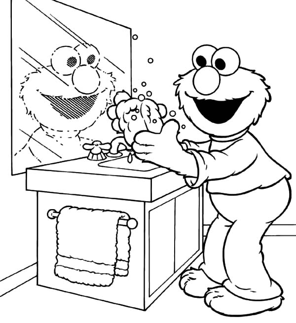 Coloriage Elmo se laver les mains