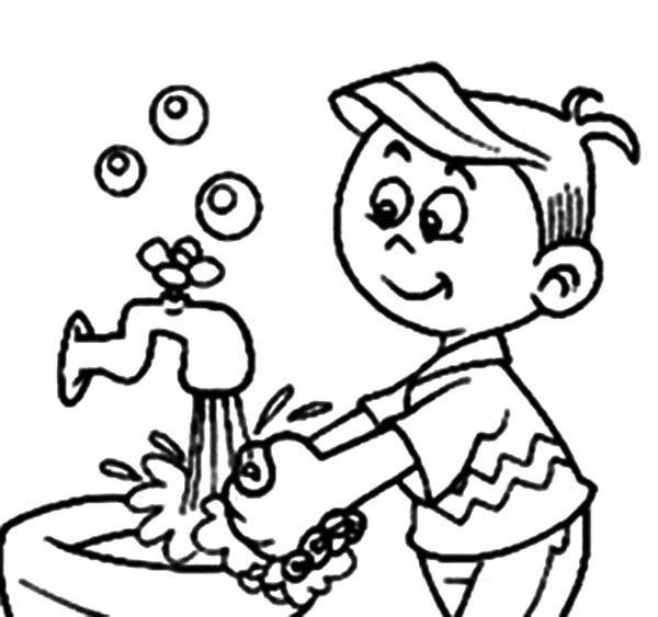 Coloriage garçon se laver les mains