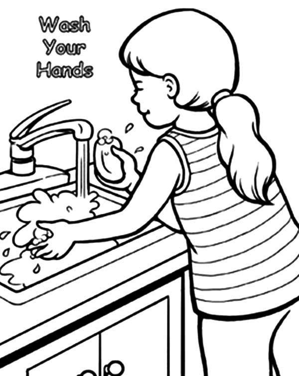 Se laver les mains à colorier