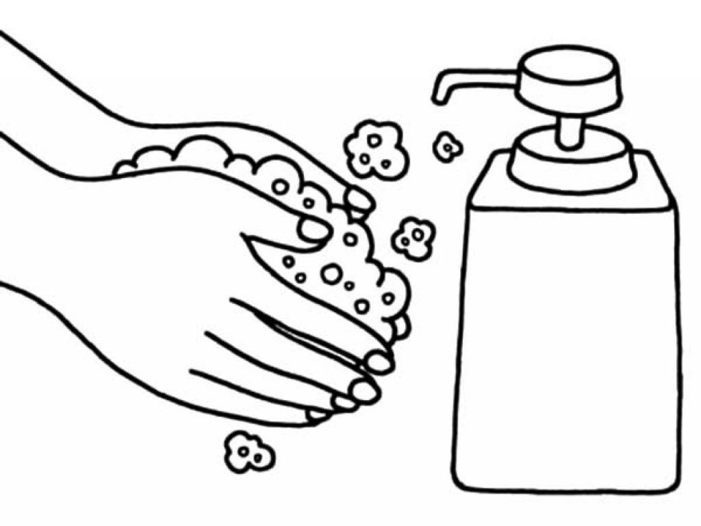Se laver les mains avec du savon Coloriage
