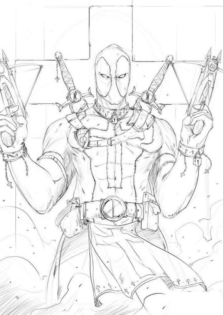Coloriage Deadpool à imprimer