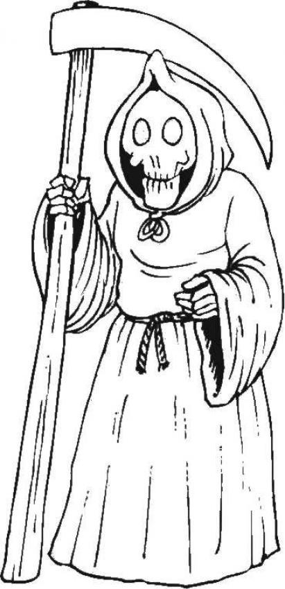 Coloriage Squelette Grim Reaper