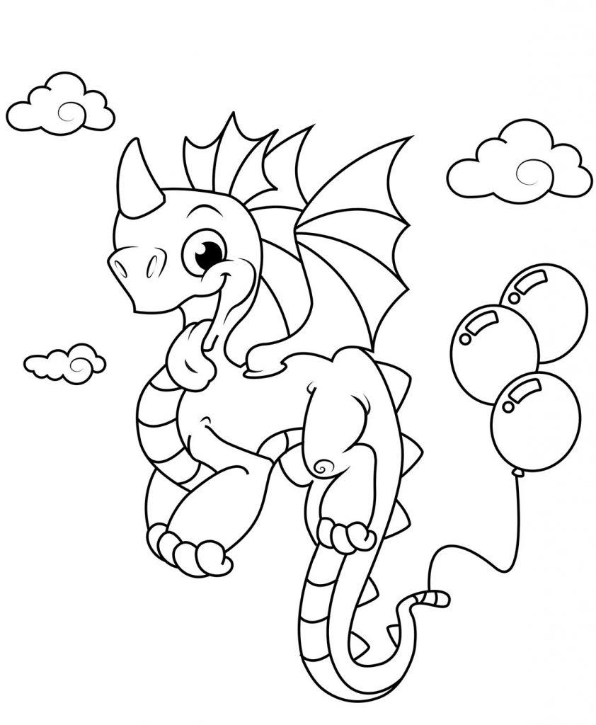 Coloriage dragon balloon