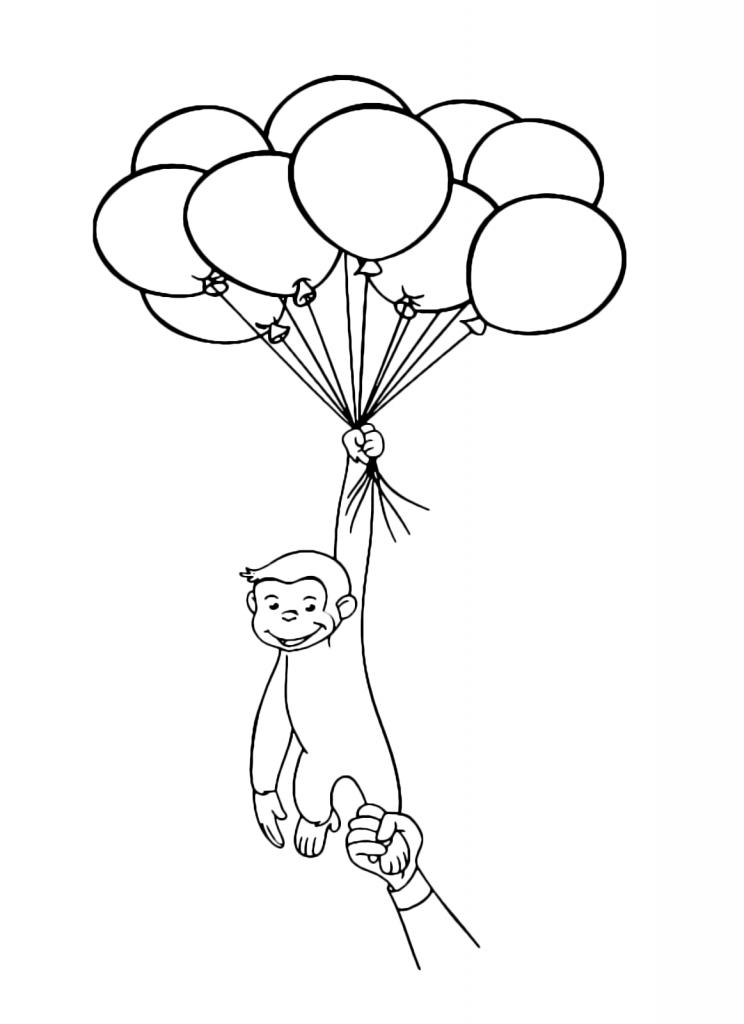 Coloriage ballon curieux George