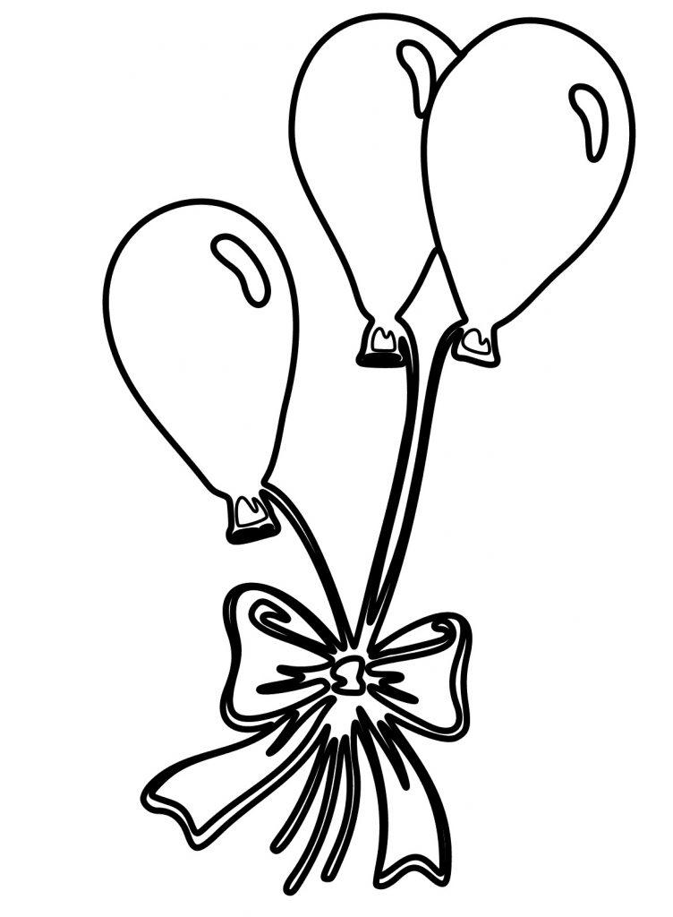 Coloriage cadeau de ballons