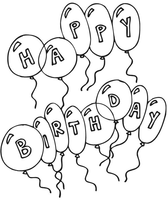 Coloriage joyeux anniversaire ballons