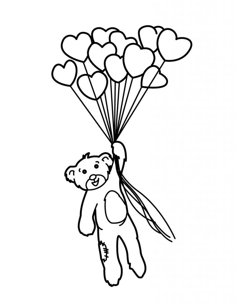 Coloriage coeur et ours ballons