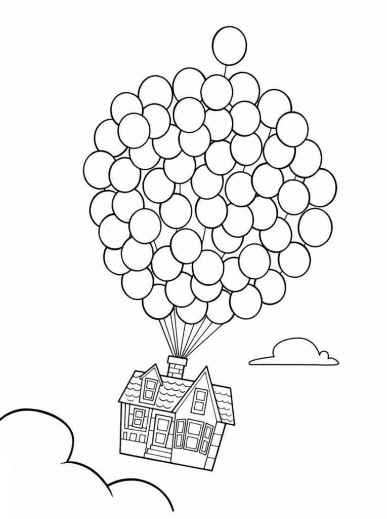 Coloriage maison et ballons