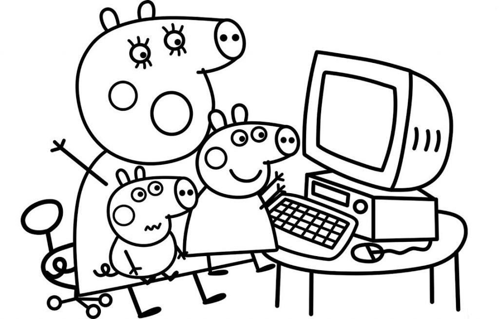 Coloriage Peppa sur ordinateur