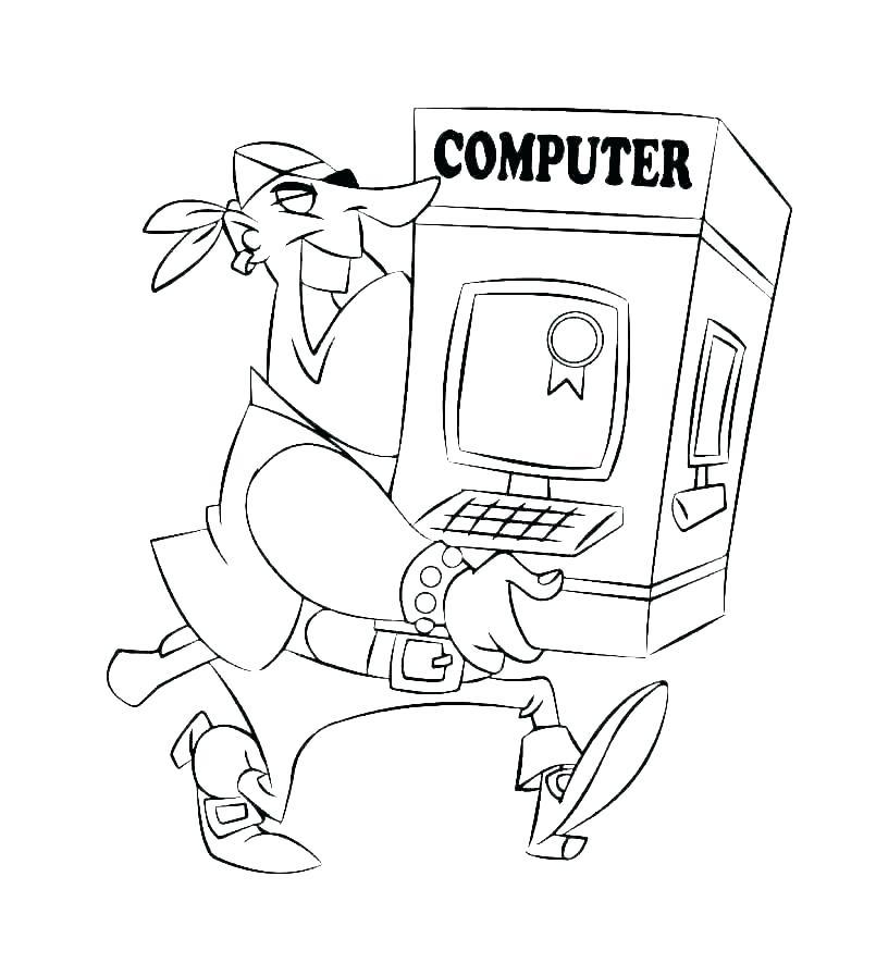 Coloriage pirate avec ordinateur
