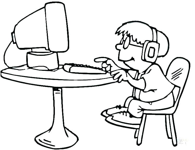 Coloriage enfant sur ordinateur
